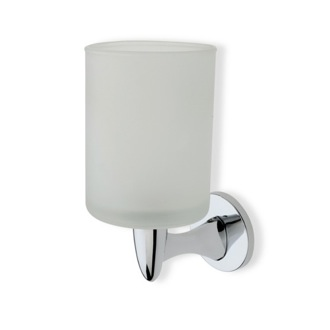 Wall Mounted Round Frosted Glass Toothbrush Holder with Brass StilHaus H10-08